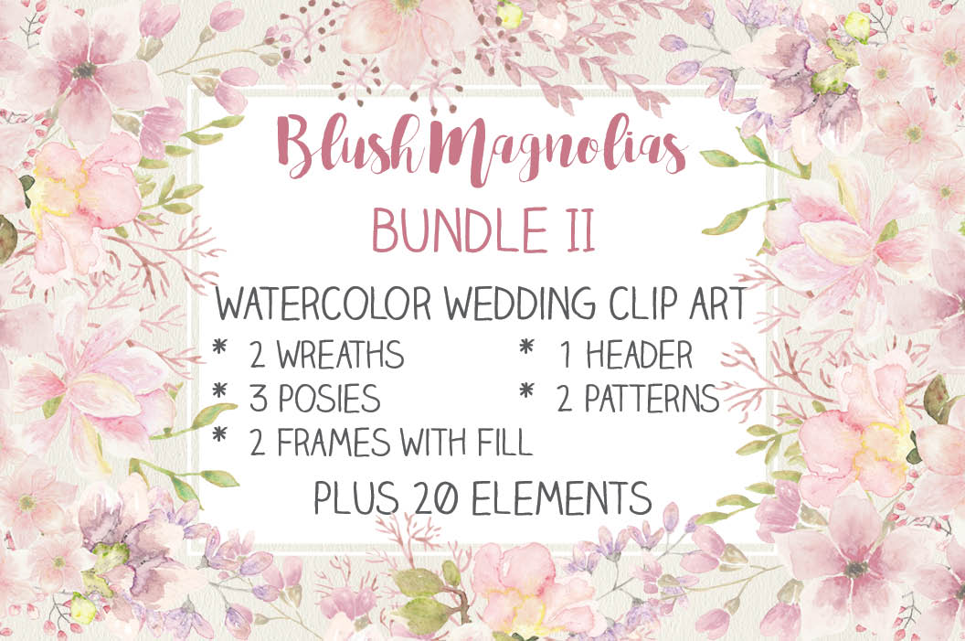 Wedding clip art bundle in blush Magnolias II example image 1