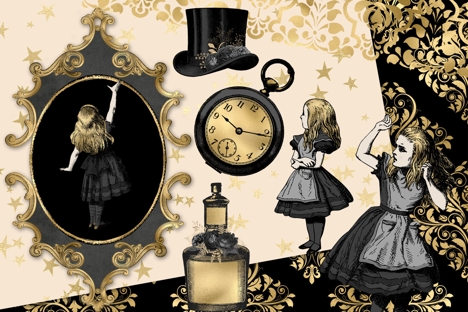 Black and Gold Alice in Wonderland Graphics example image 4