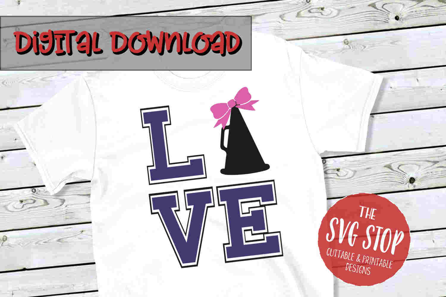 Love Cheer Bow -SVG, PNG, DXF example image 1