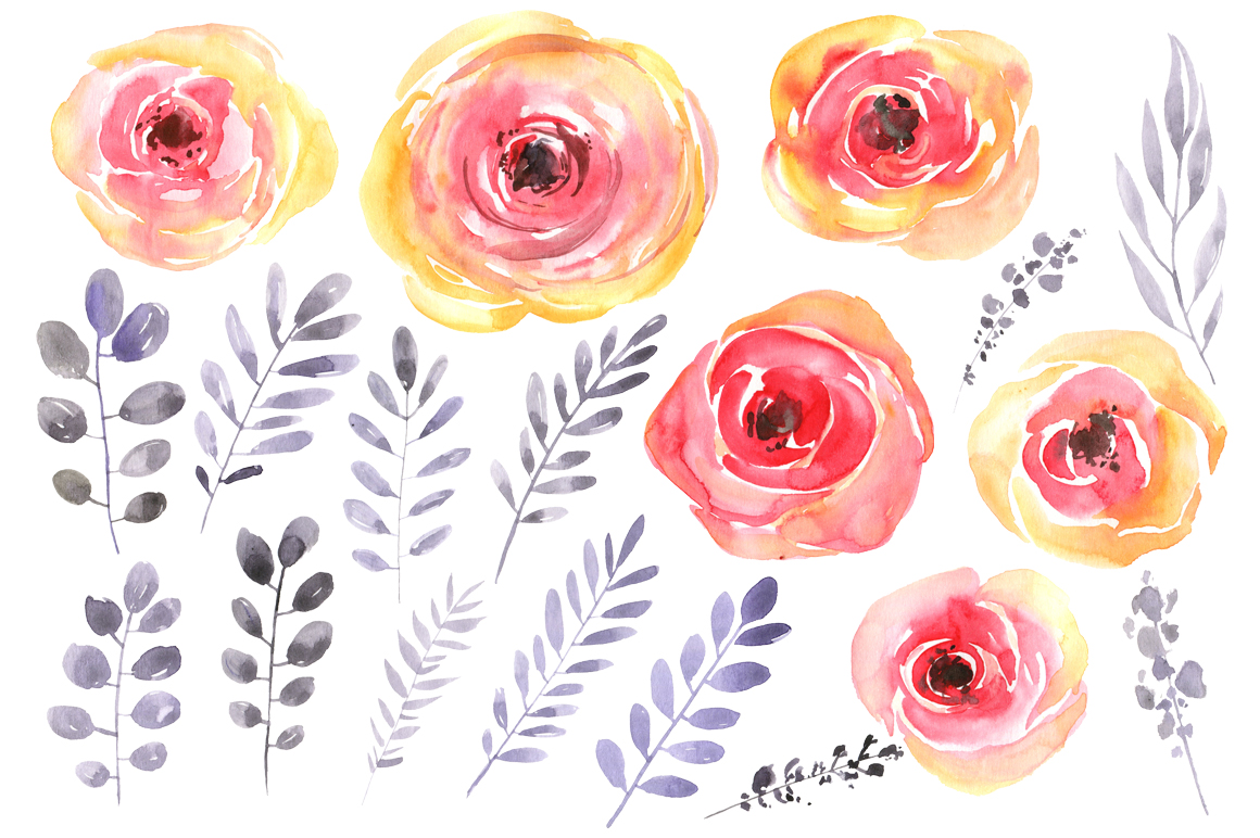 Watercolor red-yellow flowers png example image 2