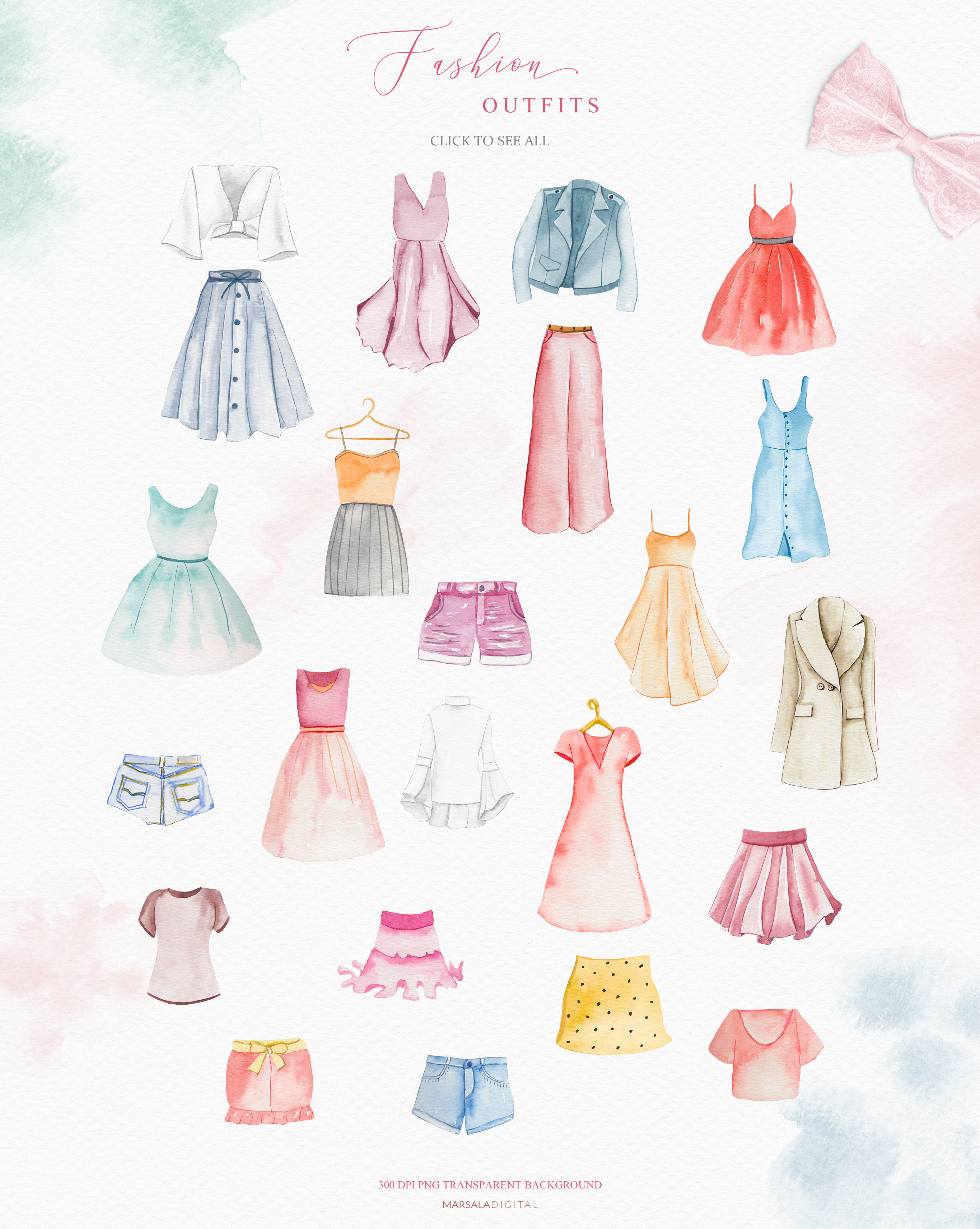 Fashion Watercolor Clipart, Bag, Shoes, Dress, Clothes example image 4