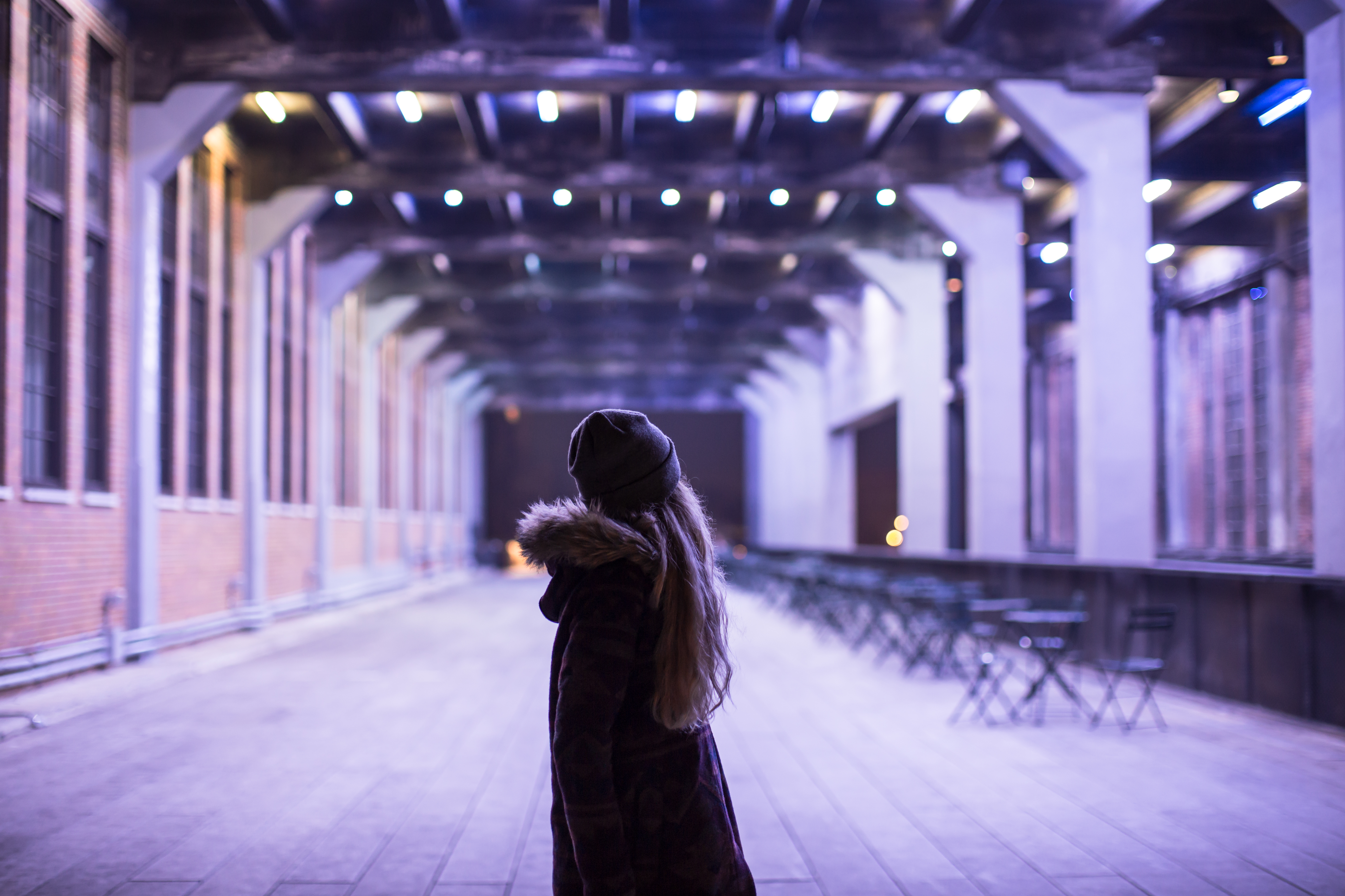 Girl in color tunnel	 example image 1