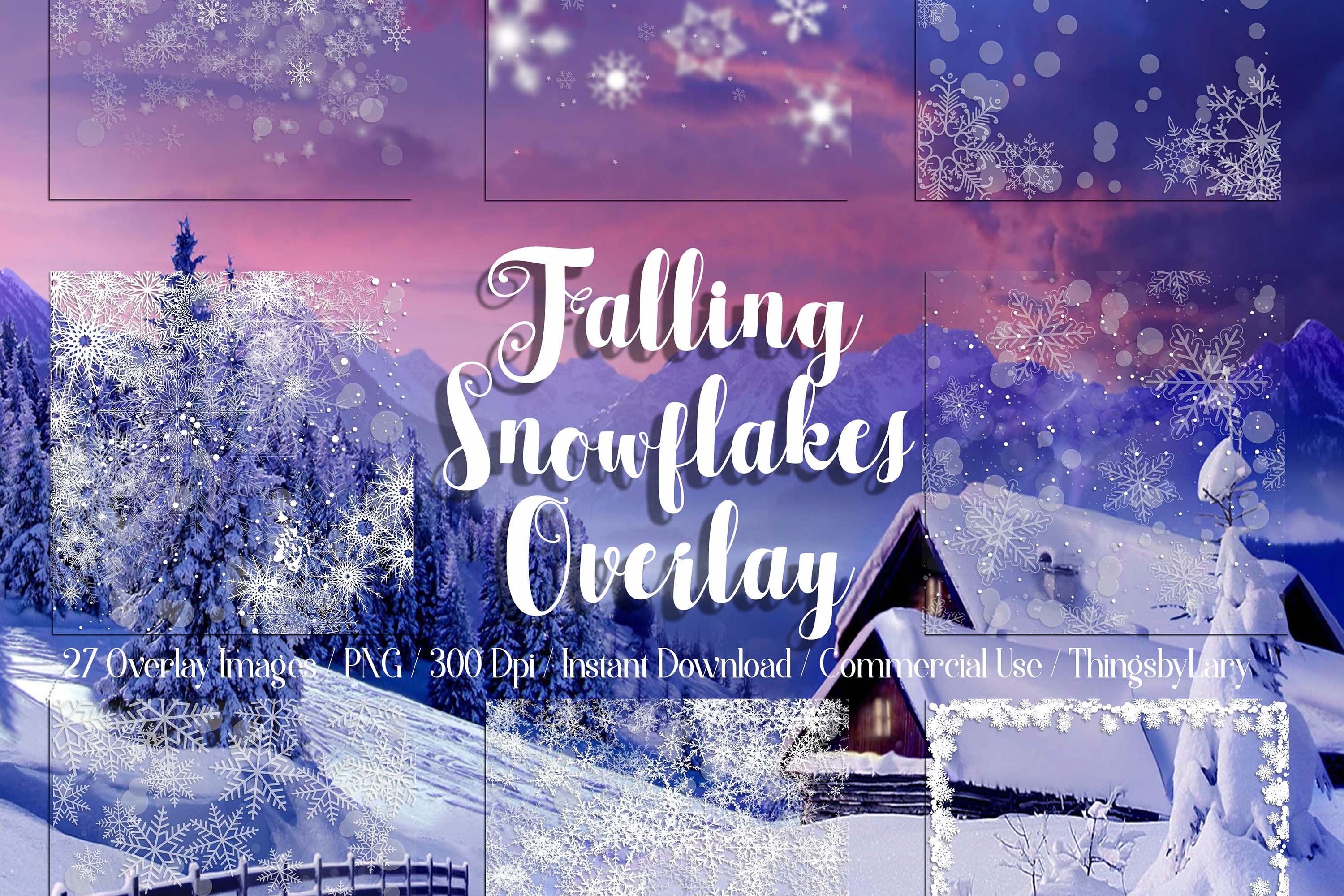 27 Falling Snowflakes Overlay Digital Images PNG Transparent example image 1
