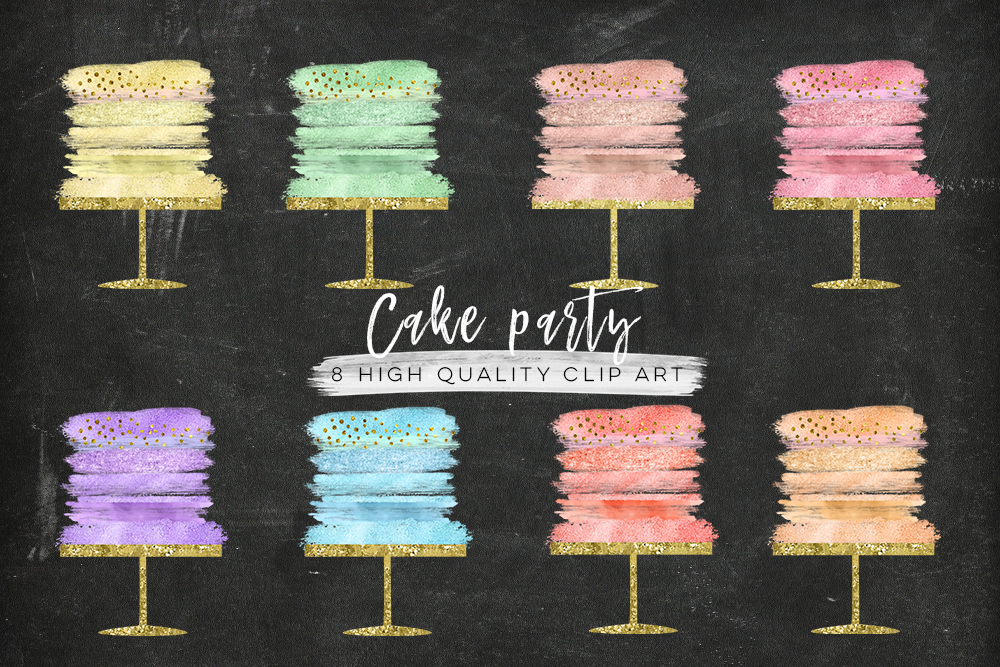 cake parose gold cake clip art,rty clip art, confetti cake party clip art, Birthday clipart set watercolor, gold foil, rose gold wedding example image 4