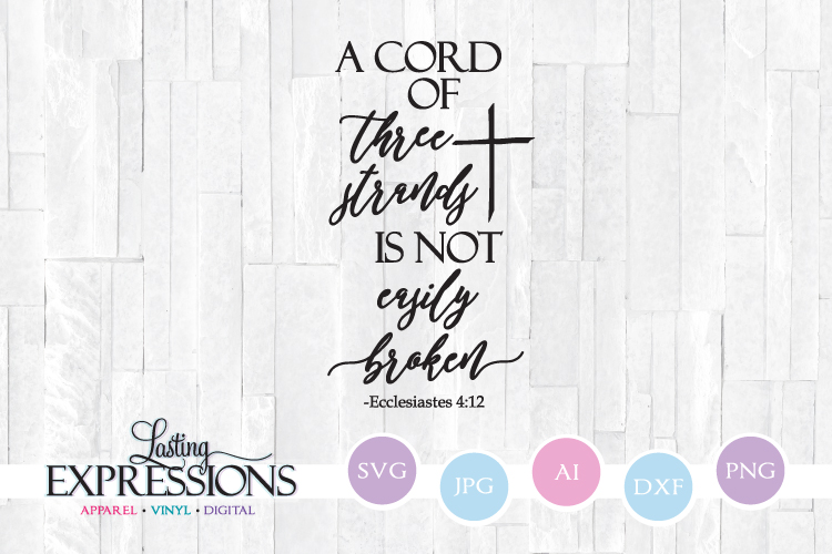 A cord of three strands // Cross Clipart // SVG Quote Design example image 1