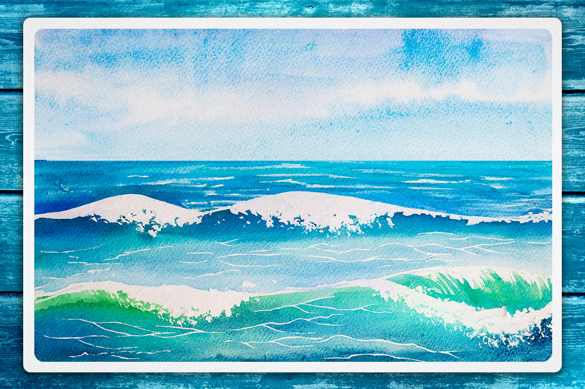 Seascapes. Watercolor illustrations. example image 4