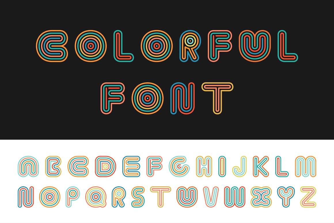 Colorful striped funny font. example image 1