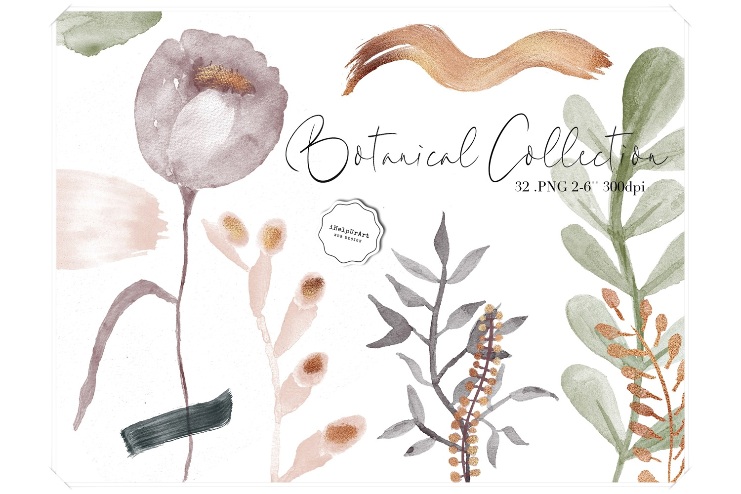 Watercolor and Copper Botanical Cip Art example image 1