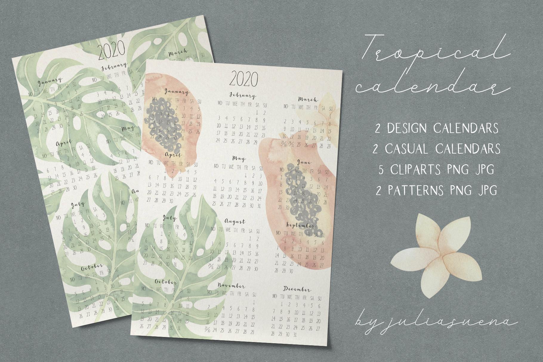 Printable tropical calendar 2020 example image 1