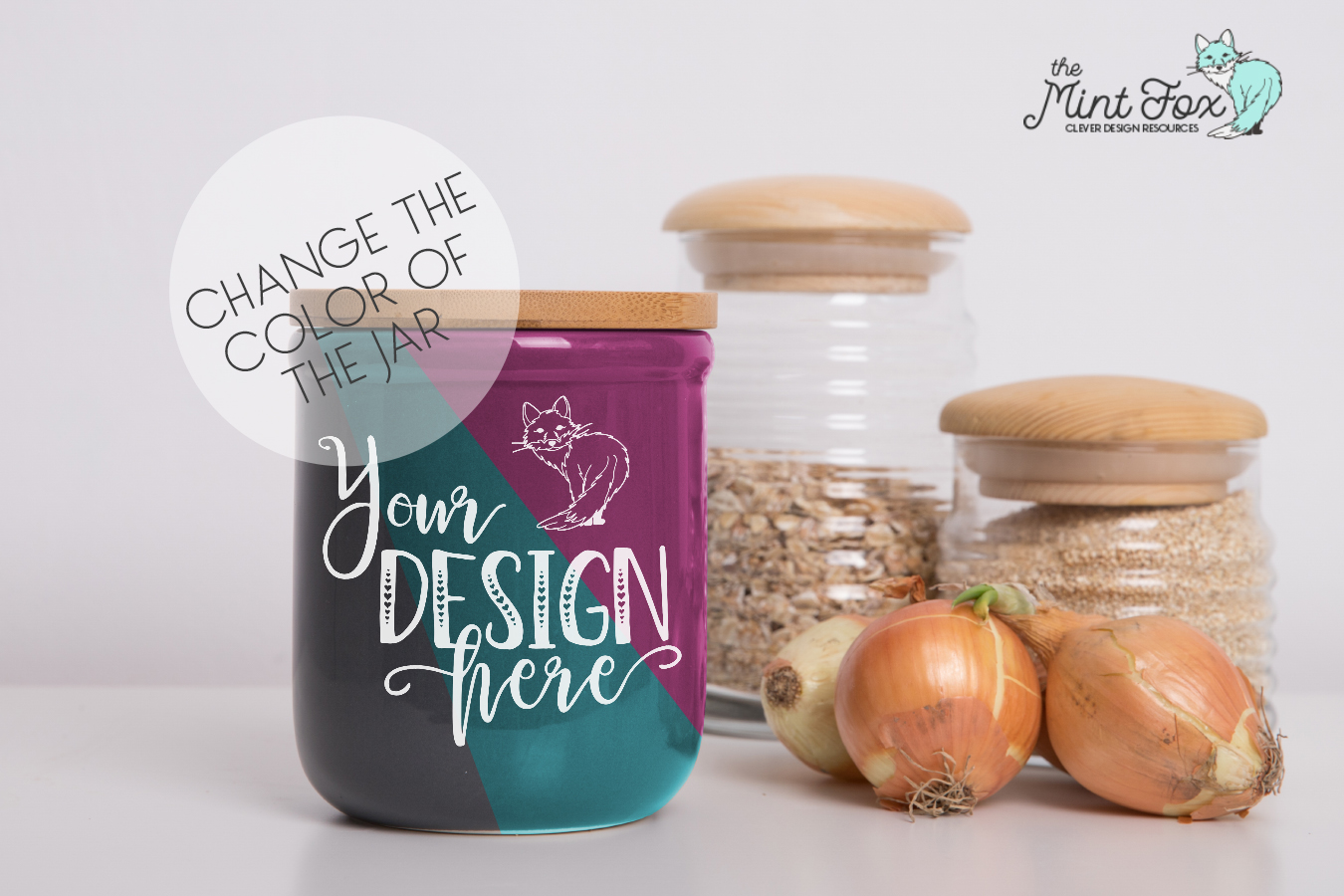 Kitchen Jar Mockup with Onions | PSD & JPG Mockup example image 3