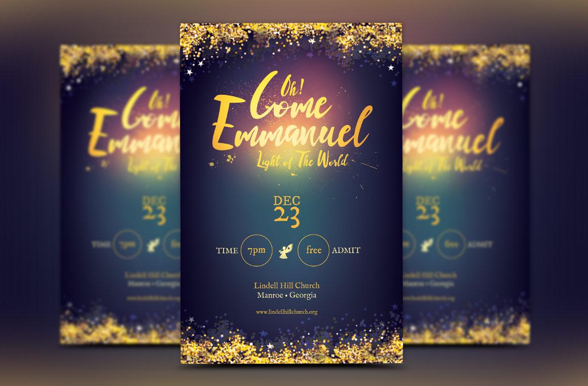 Emmanuel Christmas Cantata Flyer Template example image 1