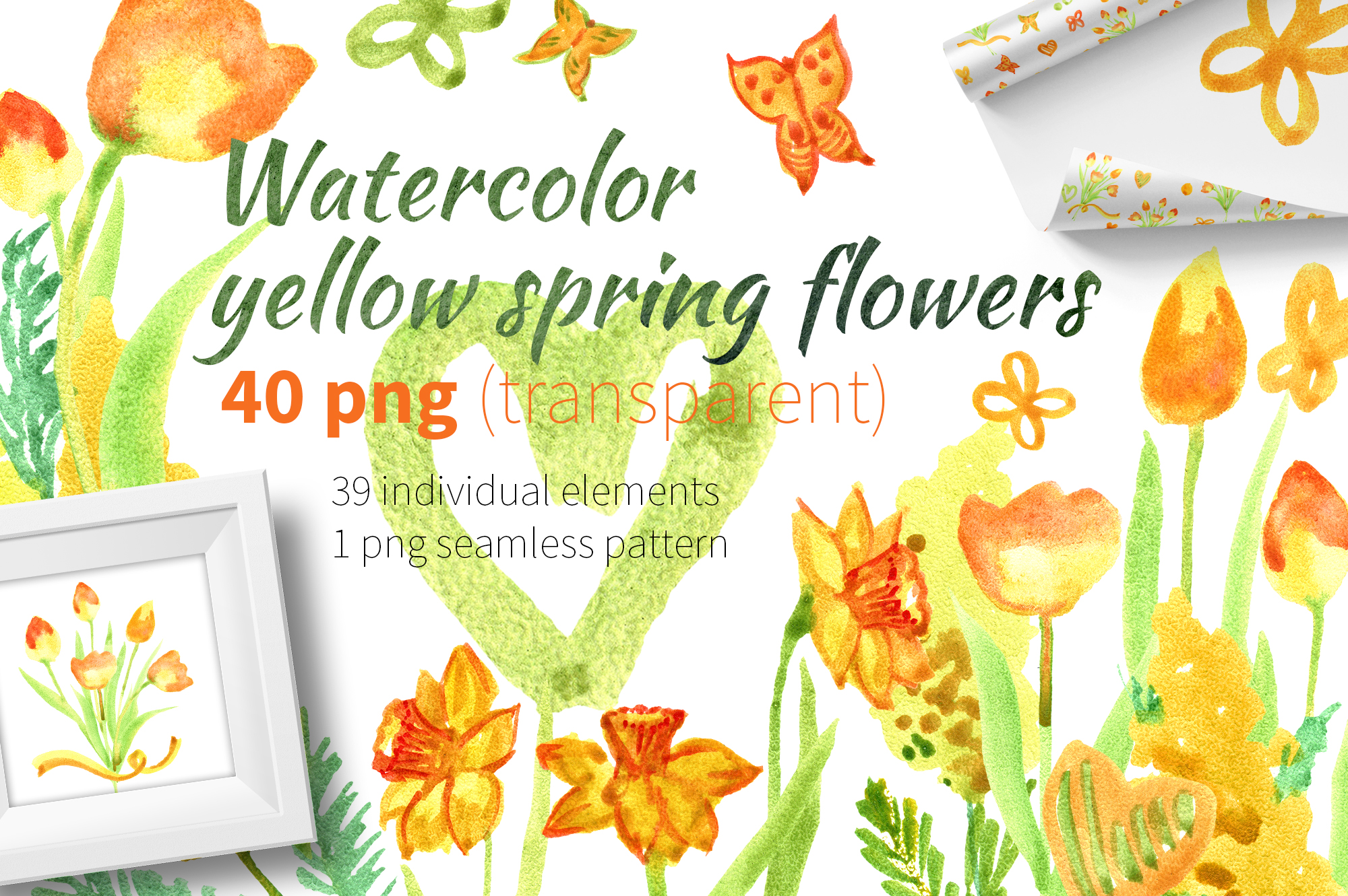 Watercolor yellow spring flowers example image 1