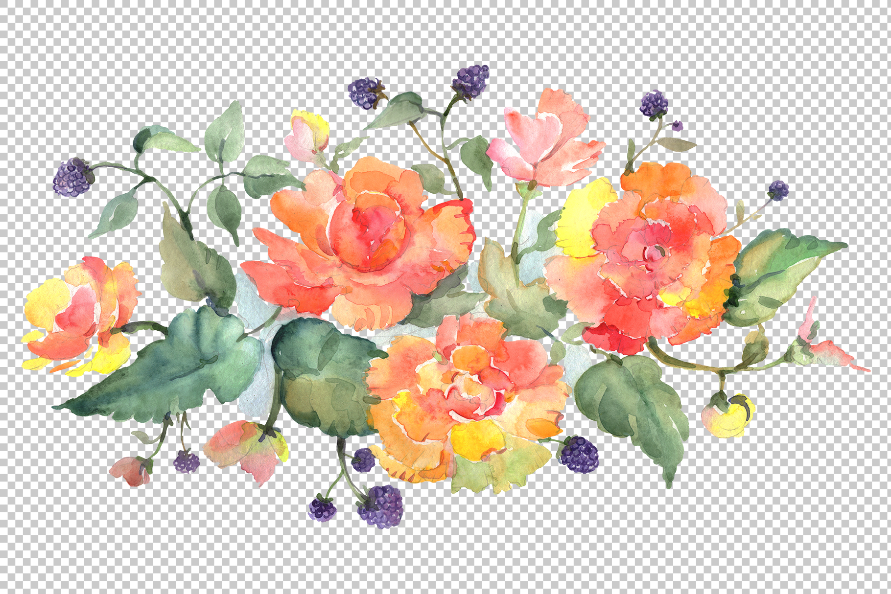 Bouquet with tea roses Watercolor png example image 2