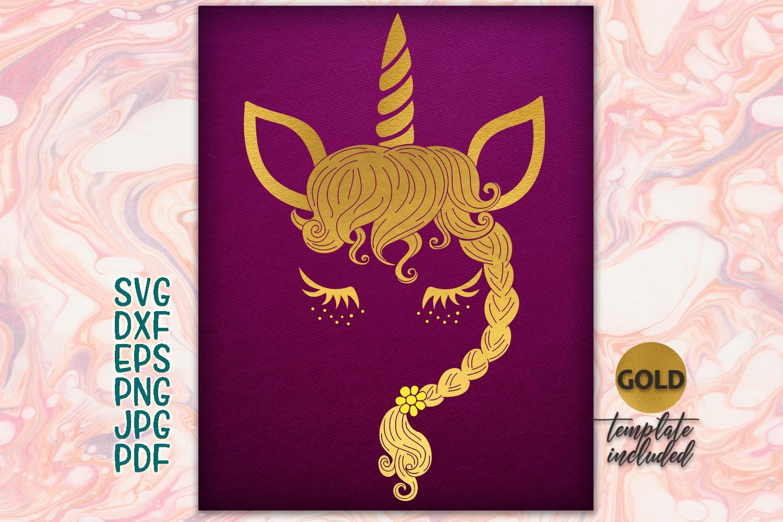 Gold unicorn face Iron on SVG clipart example image 1