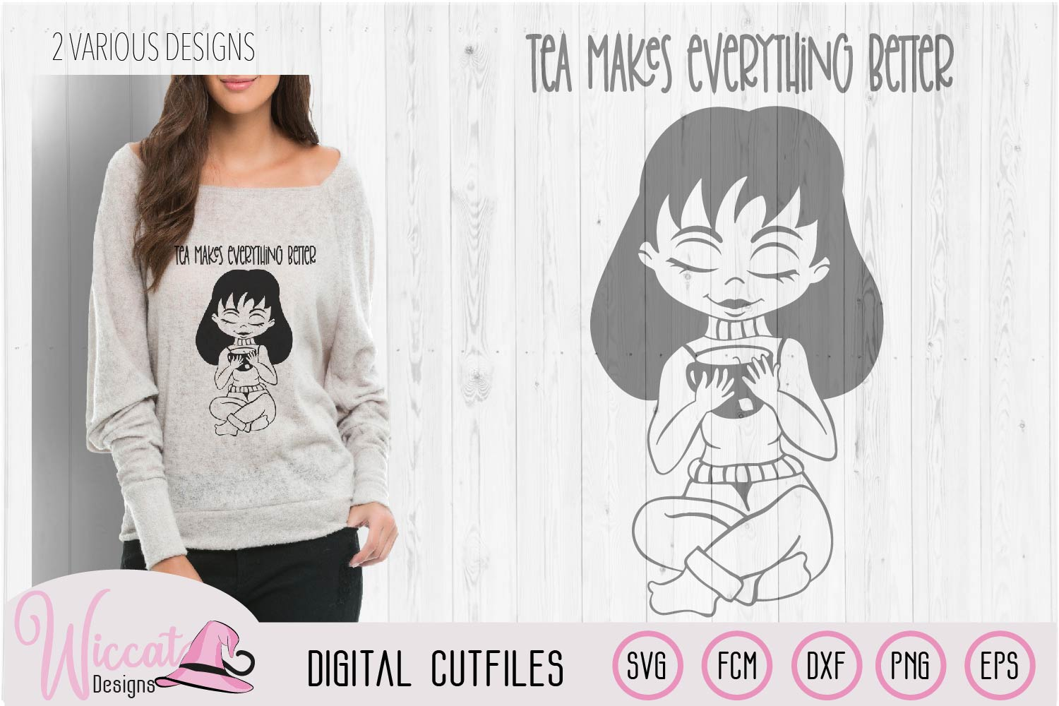 Tea girl cartoon, tea makes everything better quote example image 3
