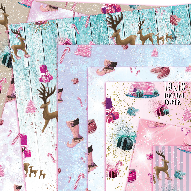 Love Pink Xmas Digital Paper example image 3