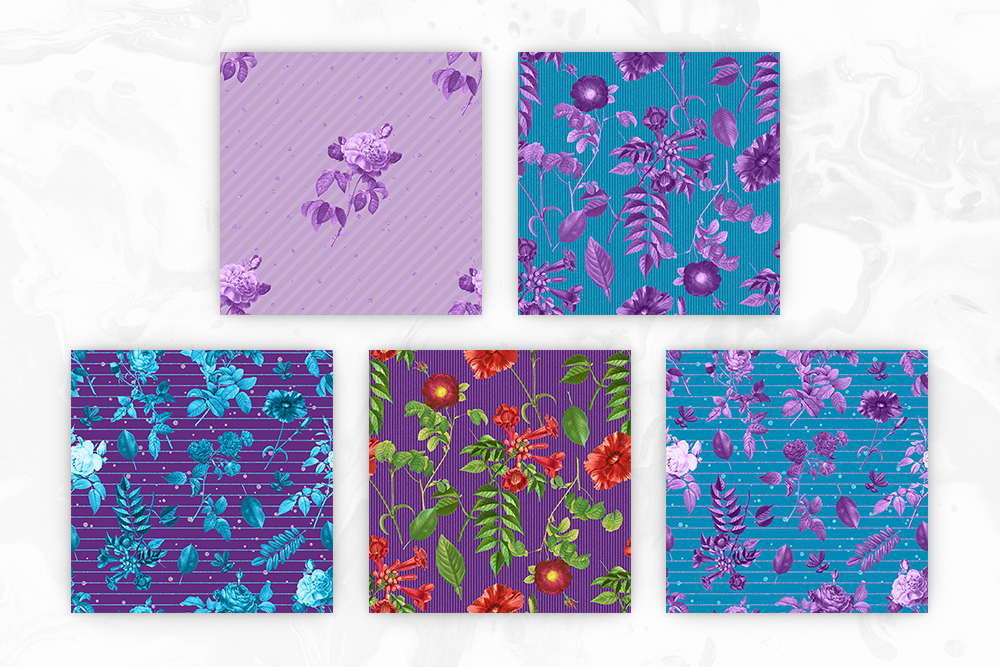 Blue & Purple Tileable Backgrounds With Flower Illustrations example image 3