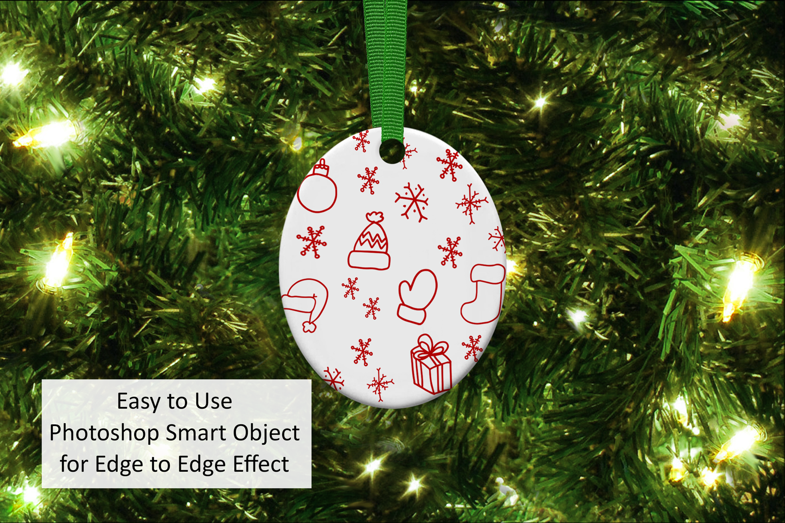 Oval Christmas Ornament Mockup, Sublimation Mock-Up, PSD example image 2