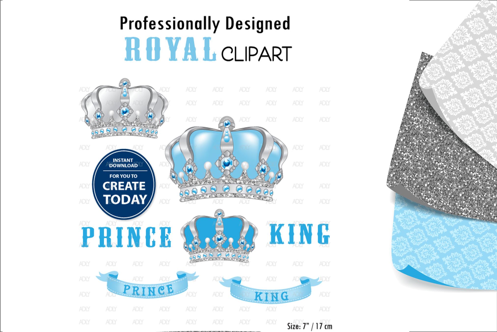 Royal Prince and King Crown ClipArt,Digital Print,wall decor example image 1