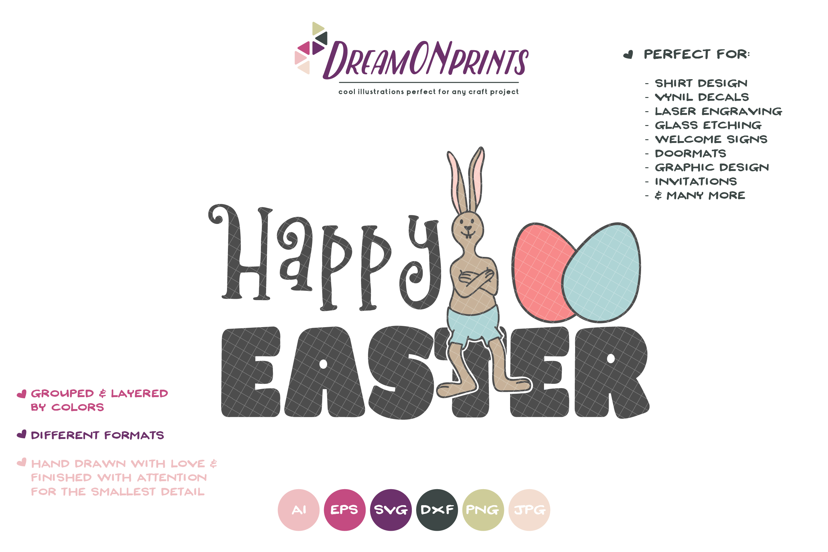Happy Easter SVG - Easter Bunny SVG example image 2