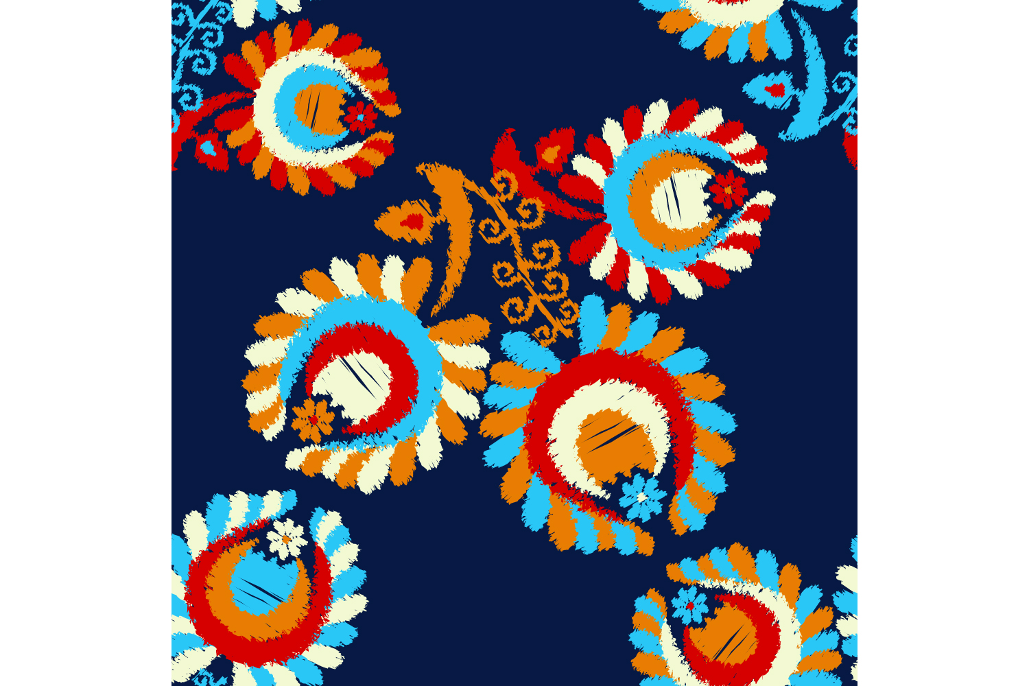 Decorative flowers. Set of 10 seamless patterns. example image 4