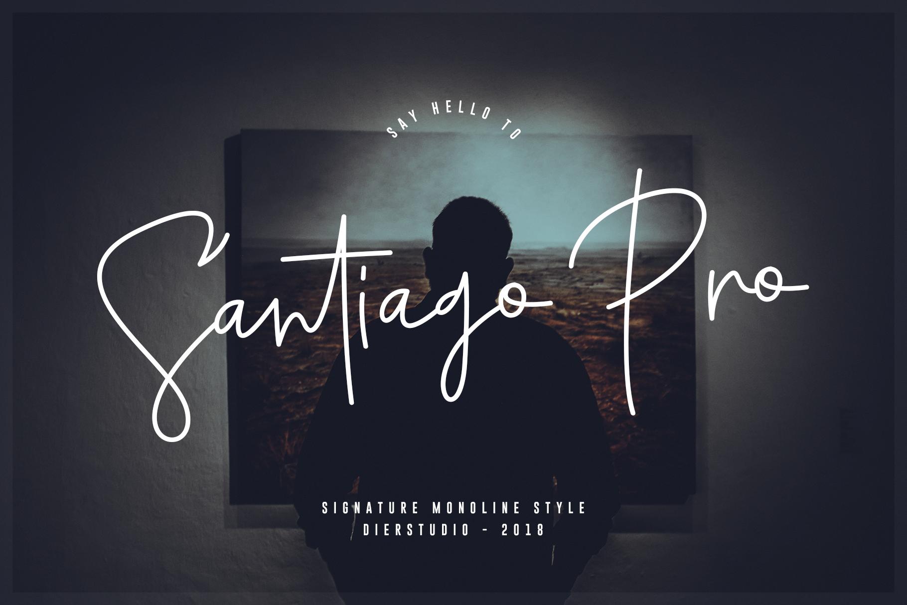 Santiago Pro - Signature Monoline / FREE 10 LOGO example image 1