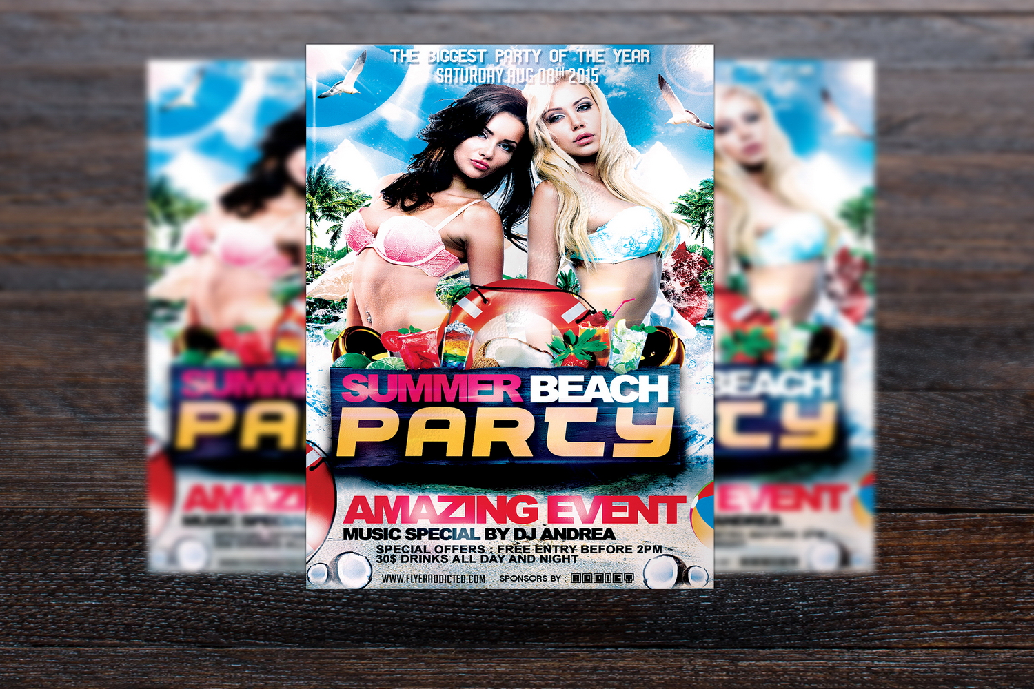 Summer Beach Party Flyer example image 1