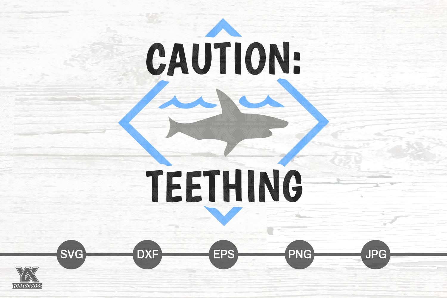 Caution Teething Shark SVG example image 3