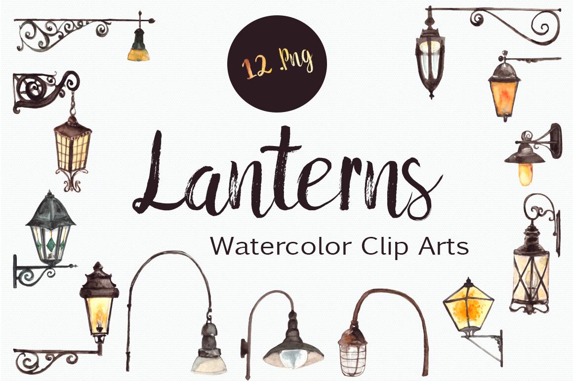Watercolor Lanterns Clip Art Set example image 1