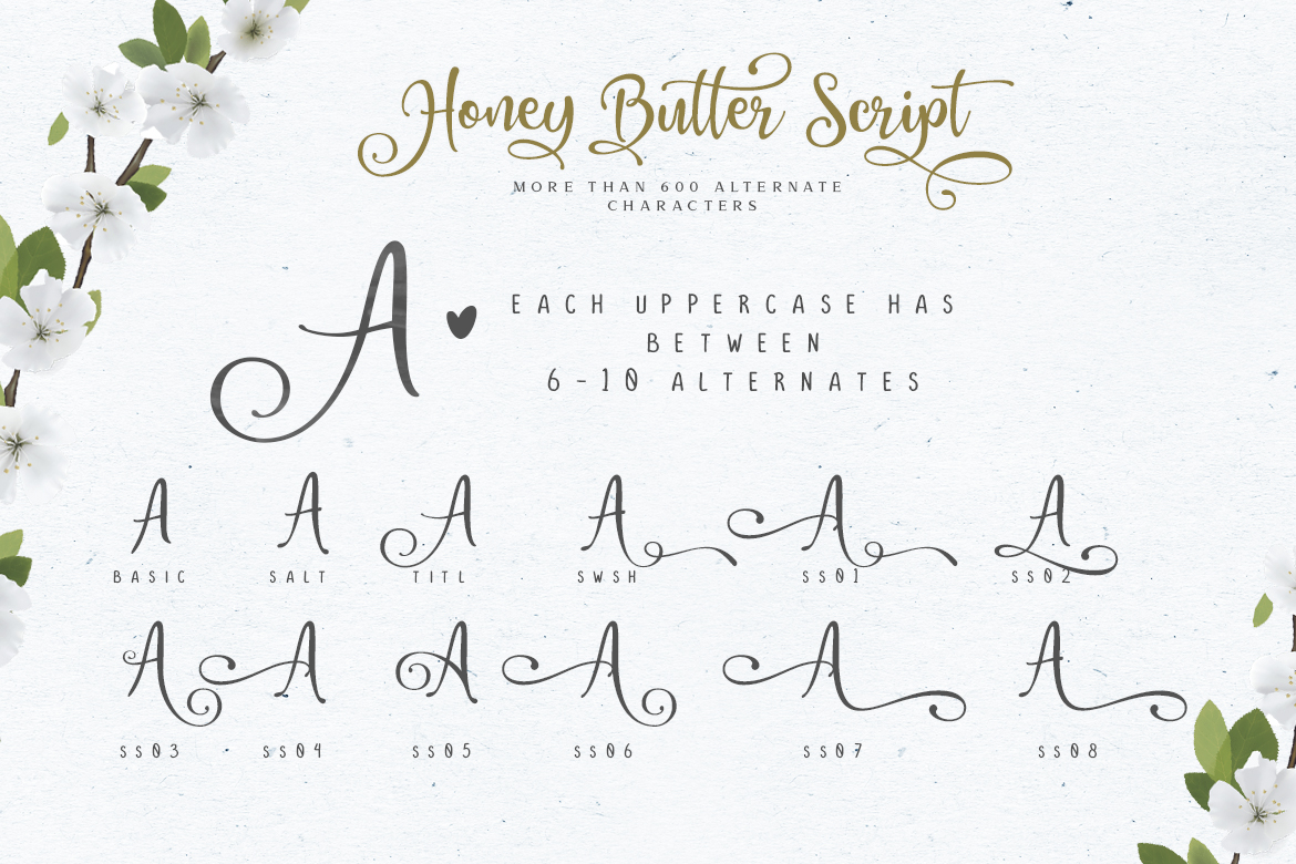 Honey Butter Font Trio & 260 Vectors example image 6