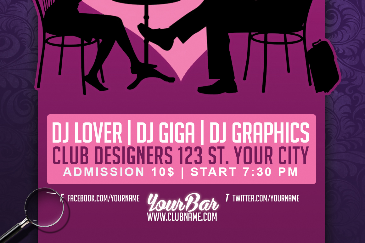 Speed Dating Party Club A5 Template