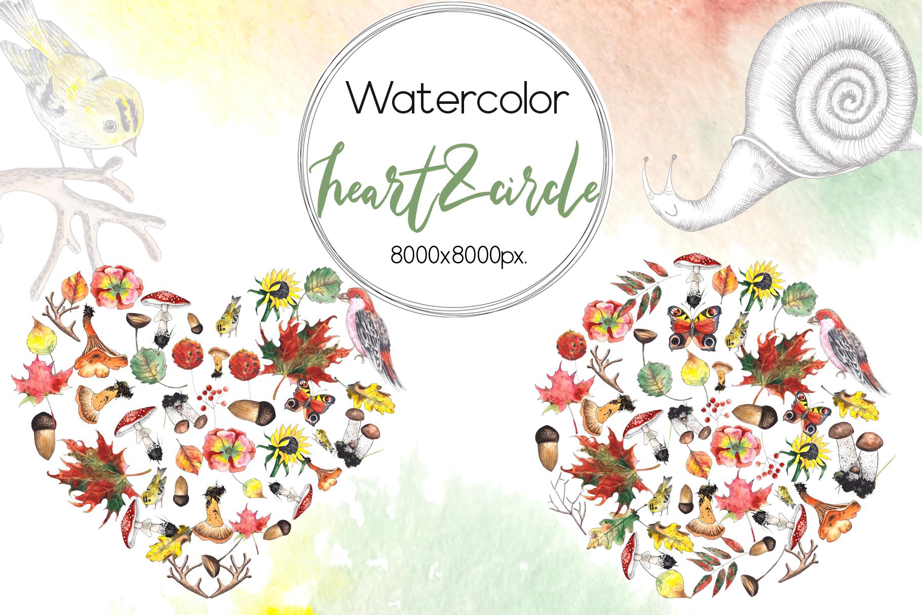 Watercolor autumn BUNDLE example image 5