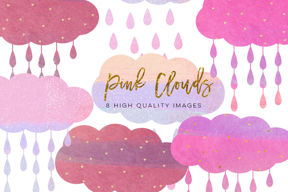 pink clouds clip art, nursery decor, brush cloud clip art, Watercolor Brush Stroke Pastel Pink, Gold pink clip art, sticker planner paper example image 2