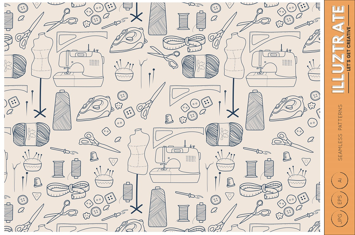 Sewing Seamless Patterns, Vector Patterns, Digital Papers example image 2