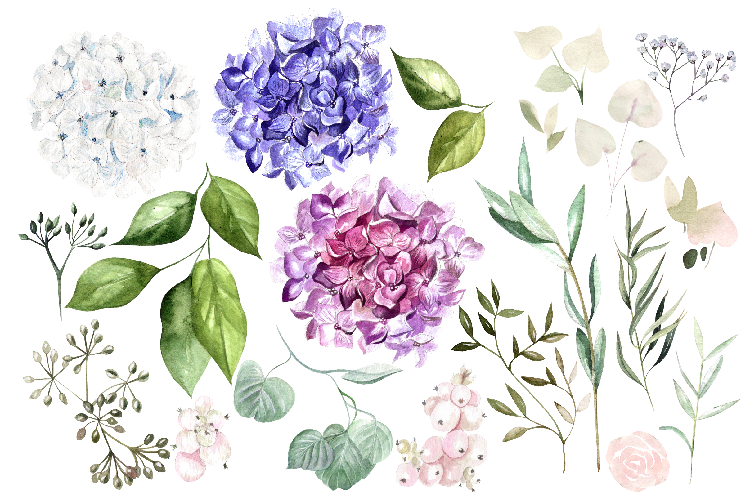 Hand Drawn Watercolor Flowers&Wreath example image 3