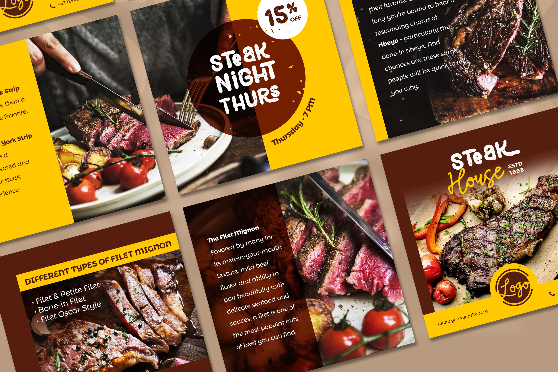 Steak Social Media Post - brown color theme example image 2