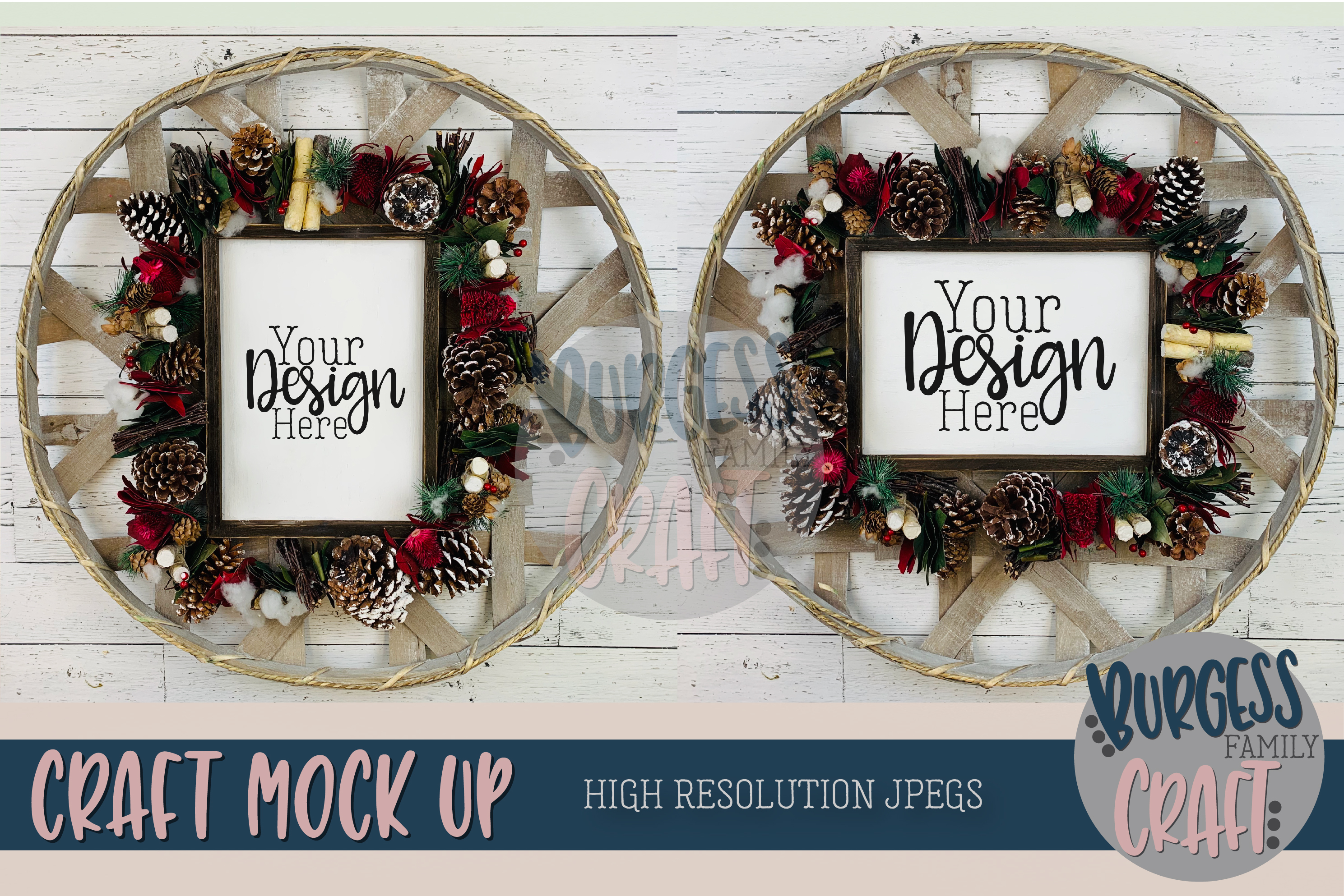 Christmas Wood Signs 2 for 1 Craft mock up |High Res JPEG example image 1