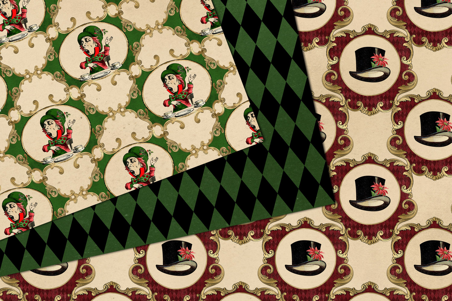 Christmas Alice In Wonderland Digital Paper example image 4