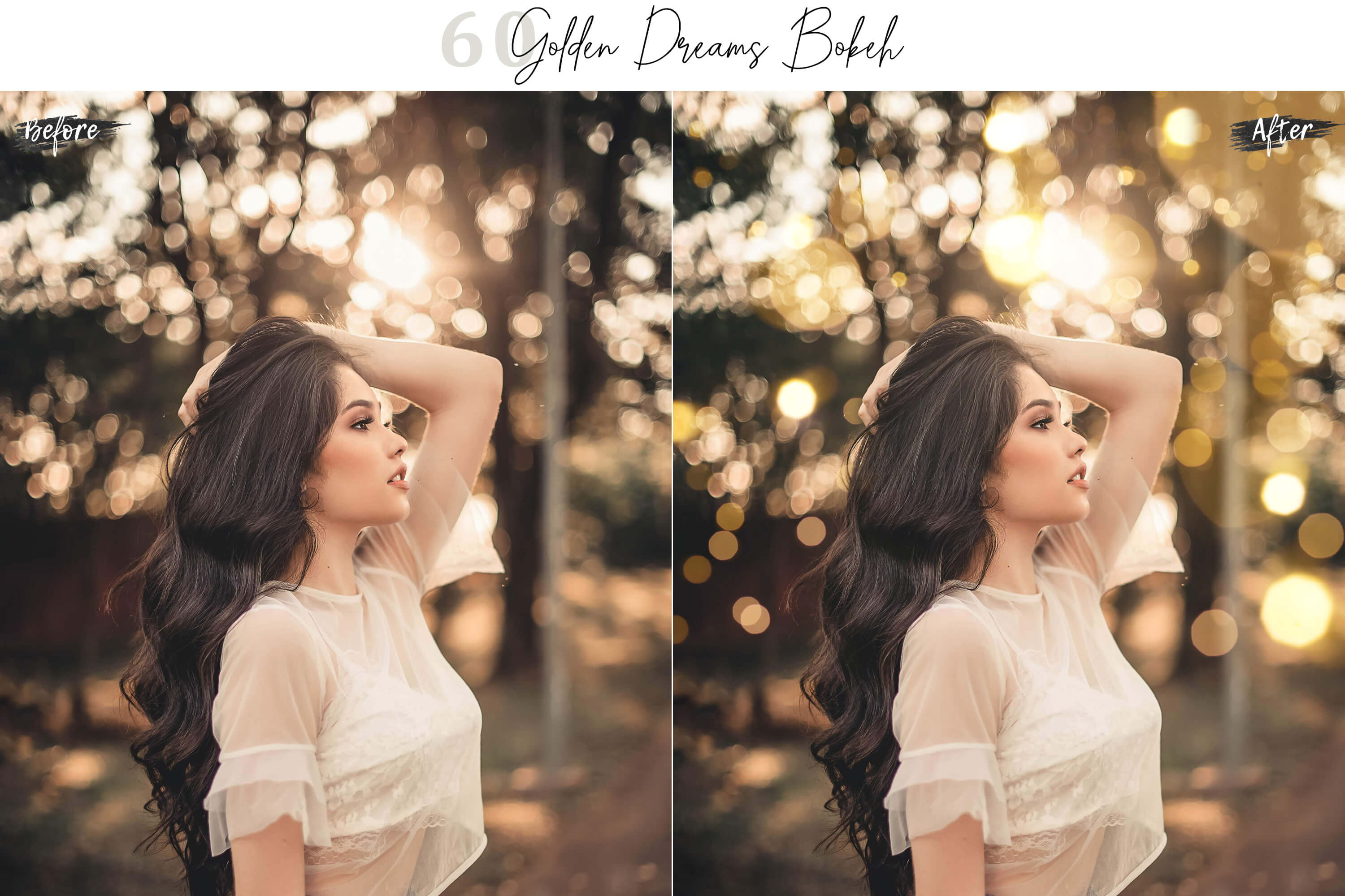 60 Golden Dreams Bokeh lights Effect Photo Overlay example image 2