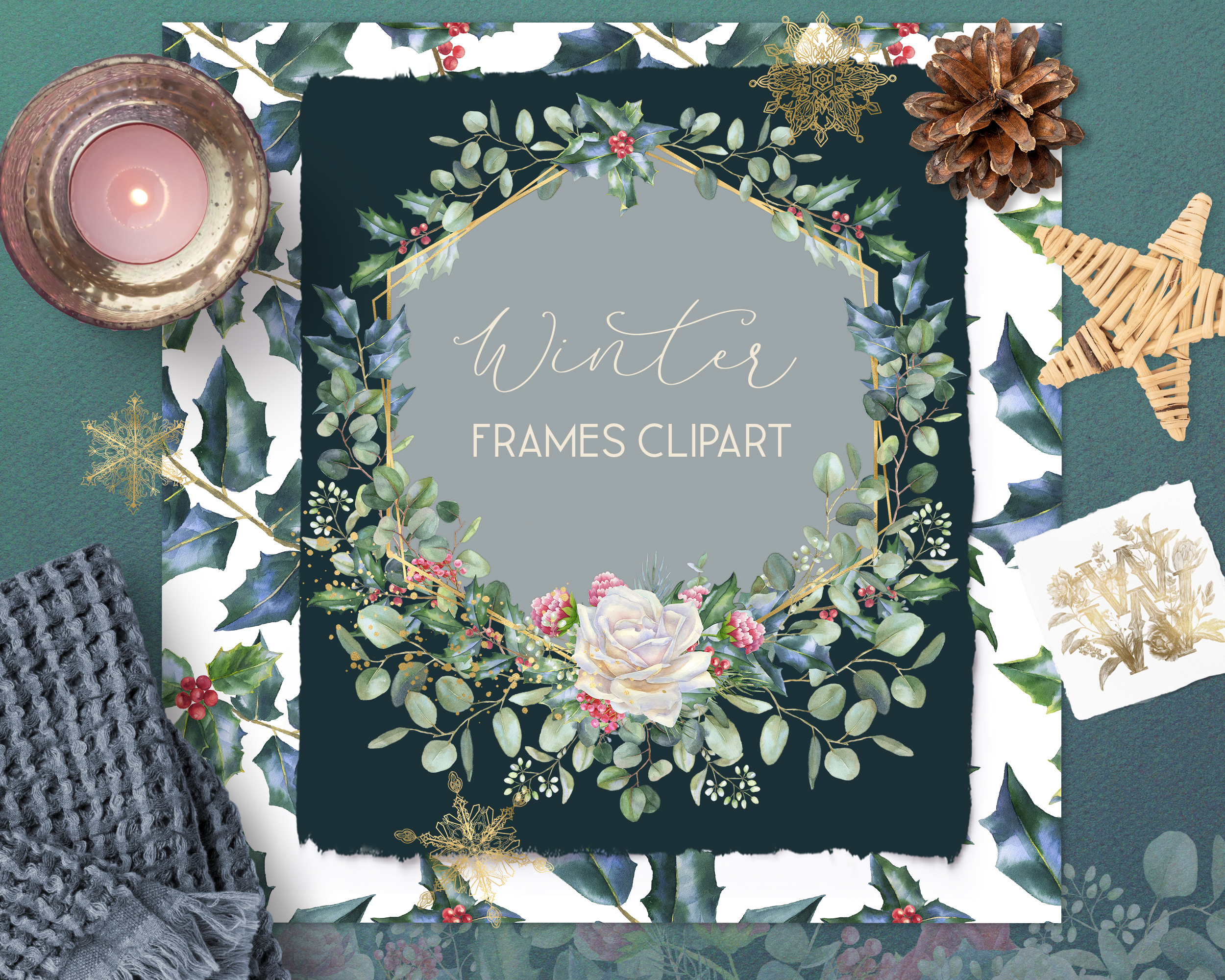 Winter frames clipart, watercolor Christmas borders png example image 6