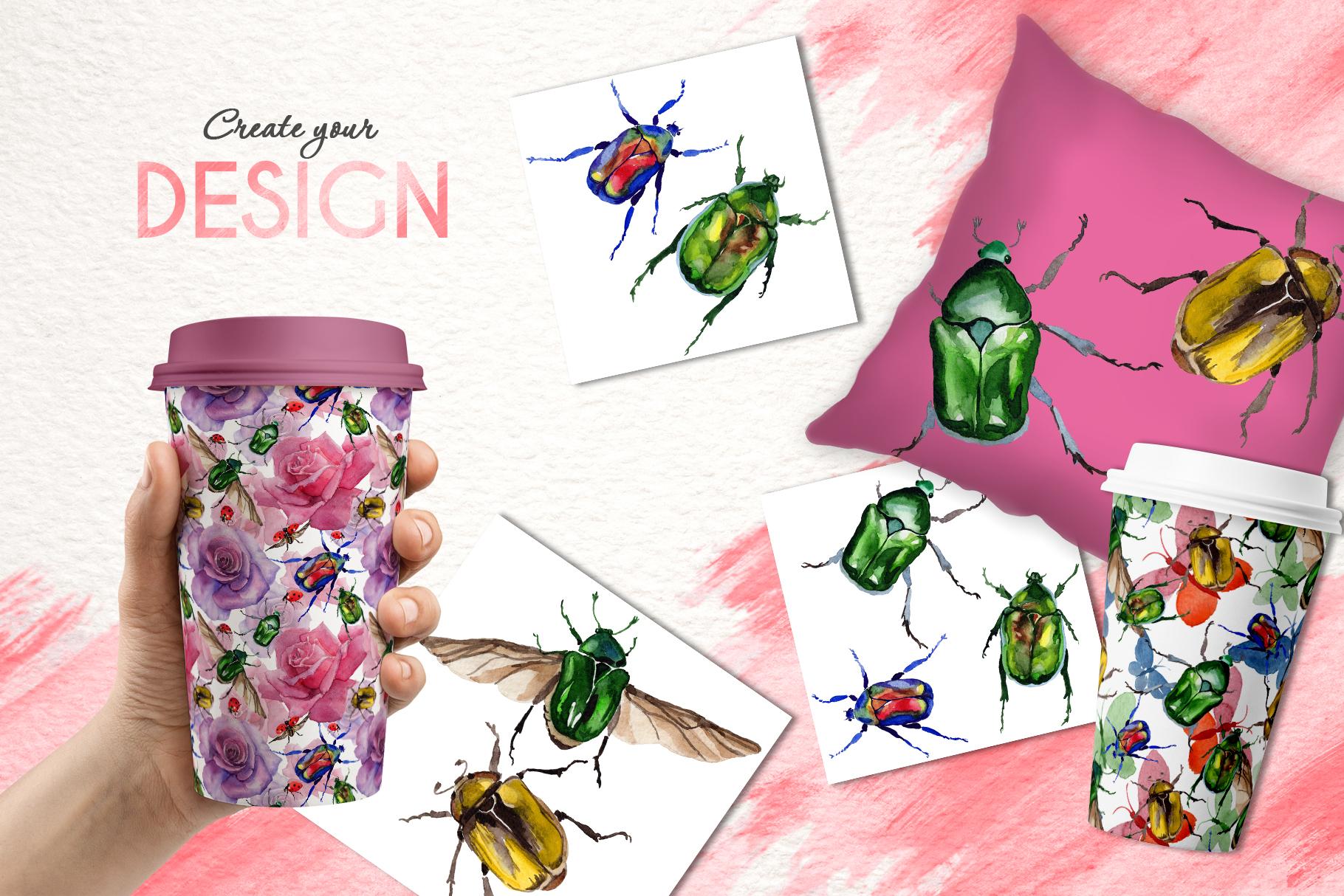 Beetle Cetoniinae,Flower Watercolor png example image 3