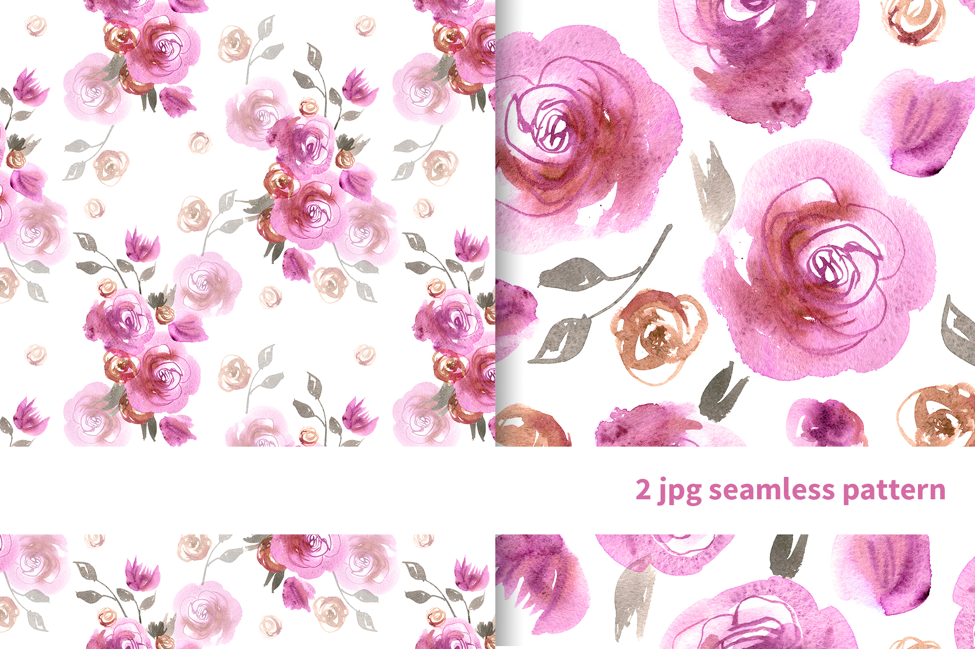 Watercolor pink roses example image 6