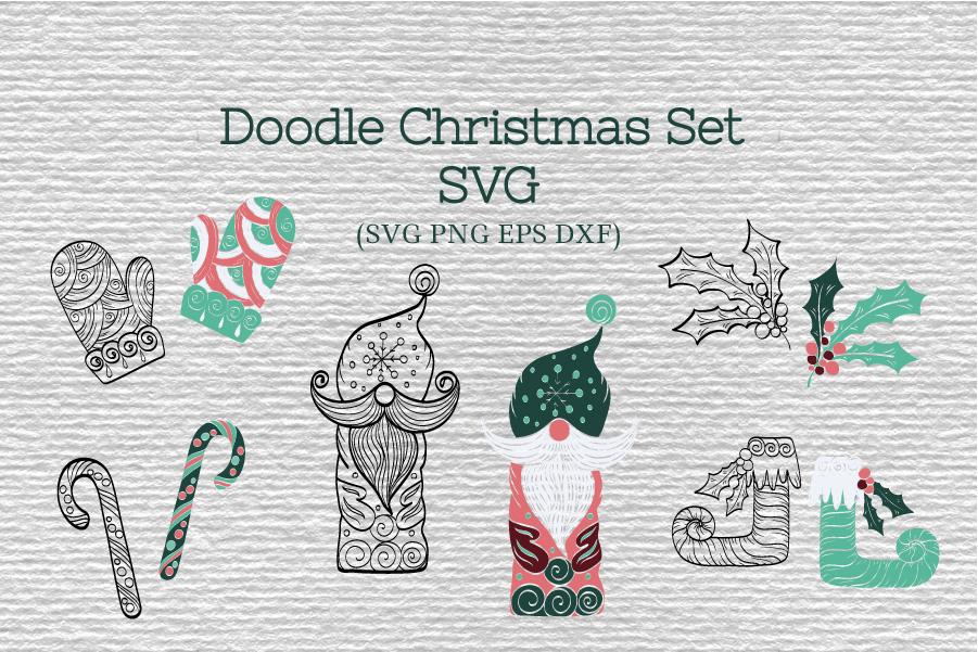 Doodle Christmas Set SVG example image 1