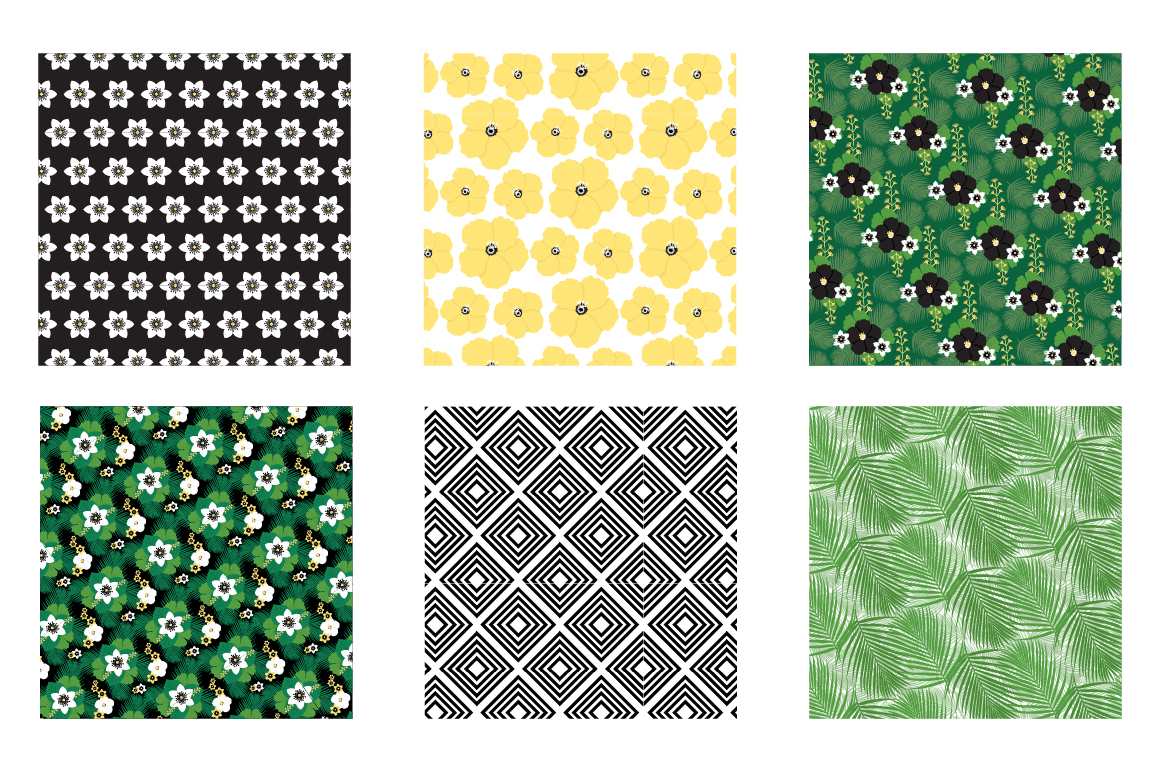 Tropical chic Pattern collection, vector ai, eps and jp example image 3