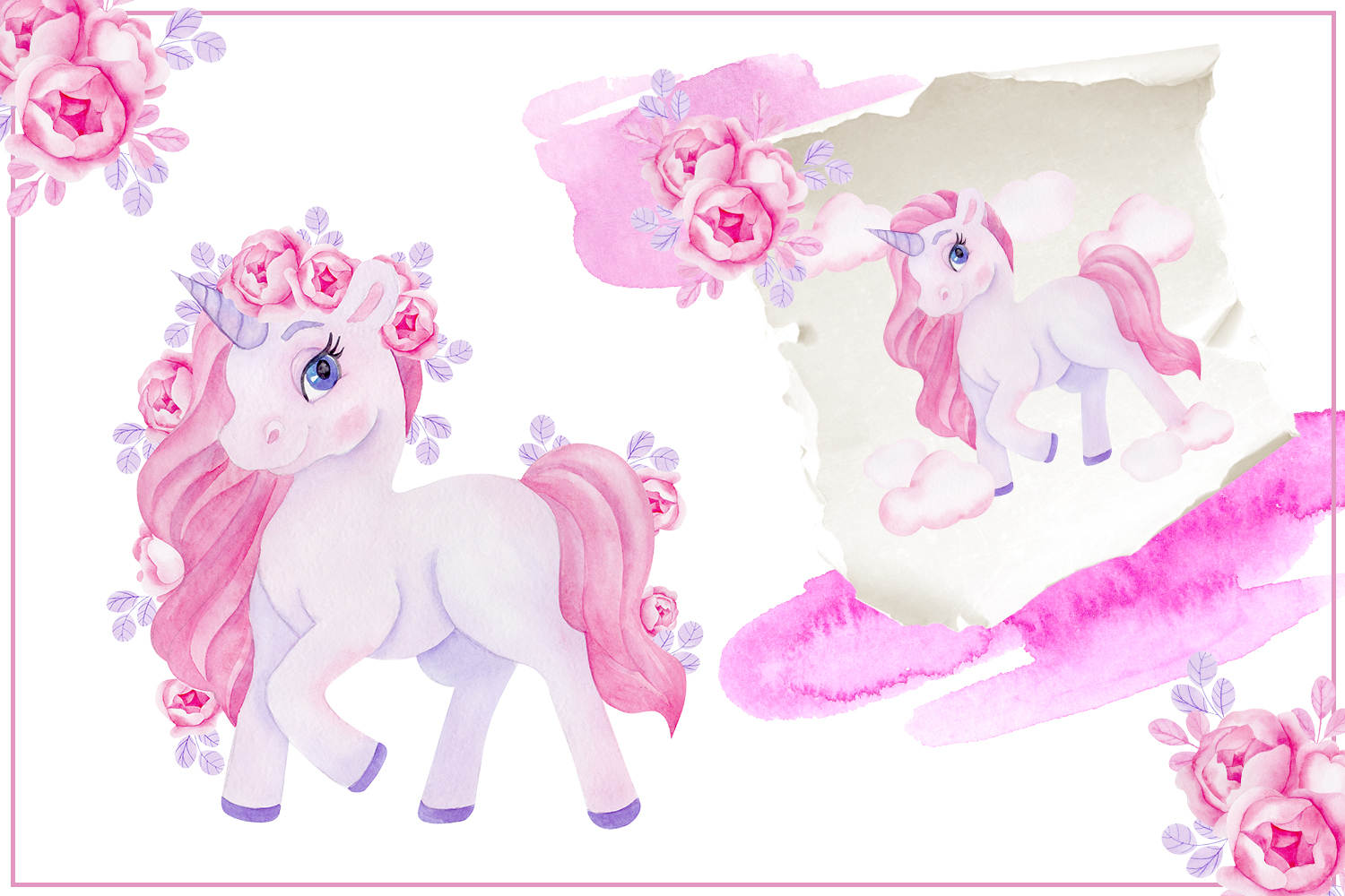 Cute unicorn. Illustrations and alphabet example image 4
