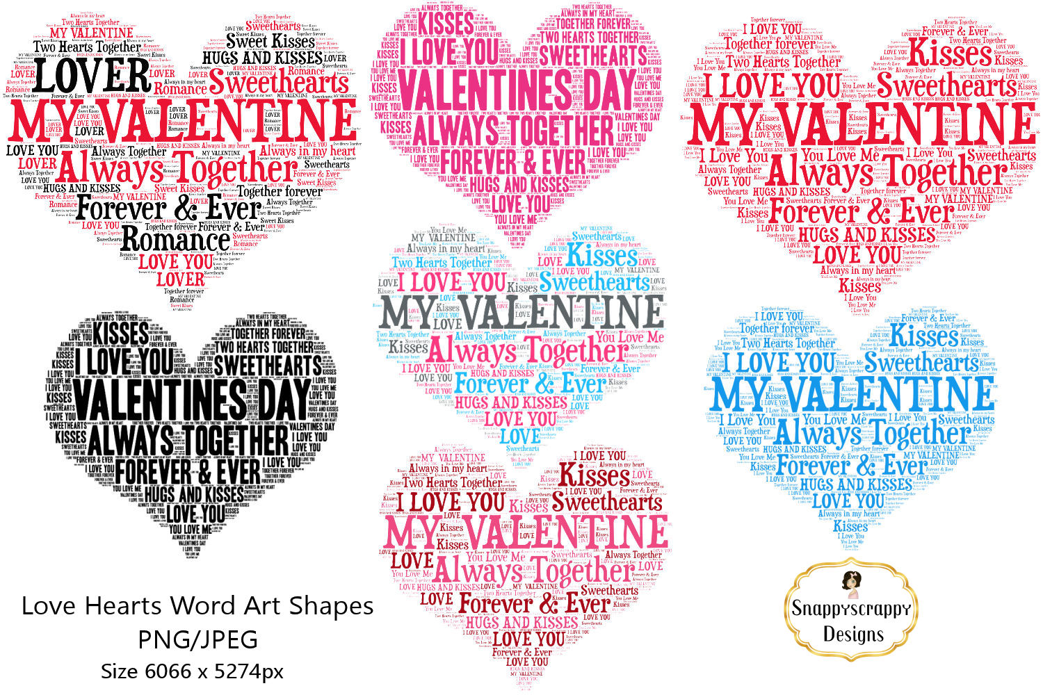 Valentine Love Hearts - Wordart Shapes example image 2