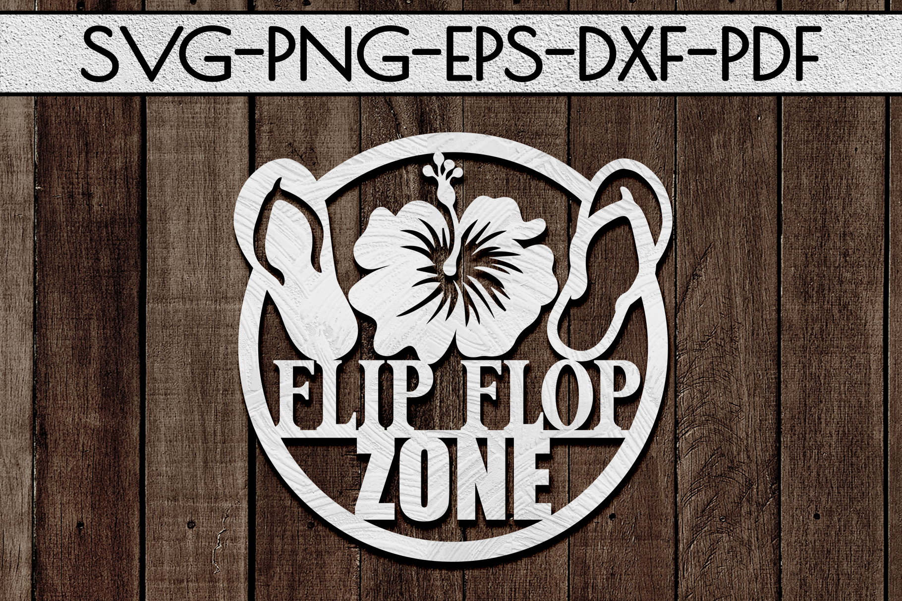 Flip Flop Zone Papercut Template, Beach House Decor SVG, DXF example image 1