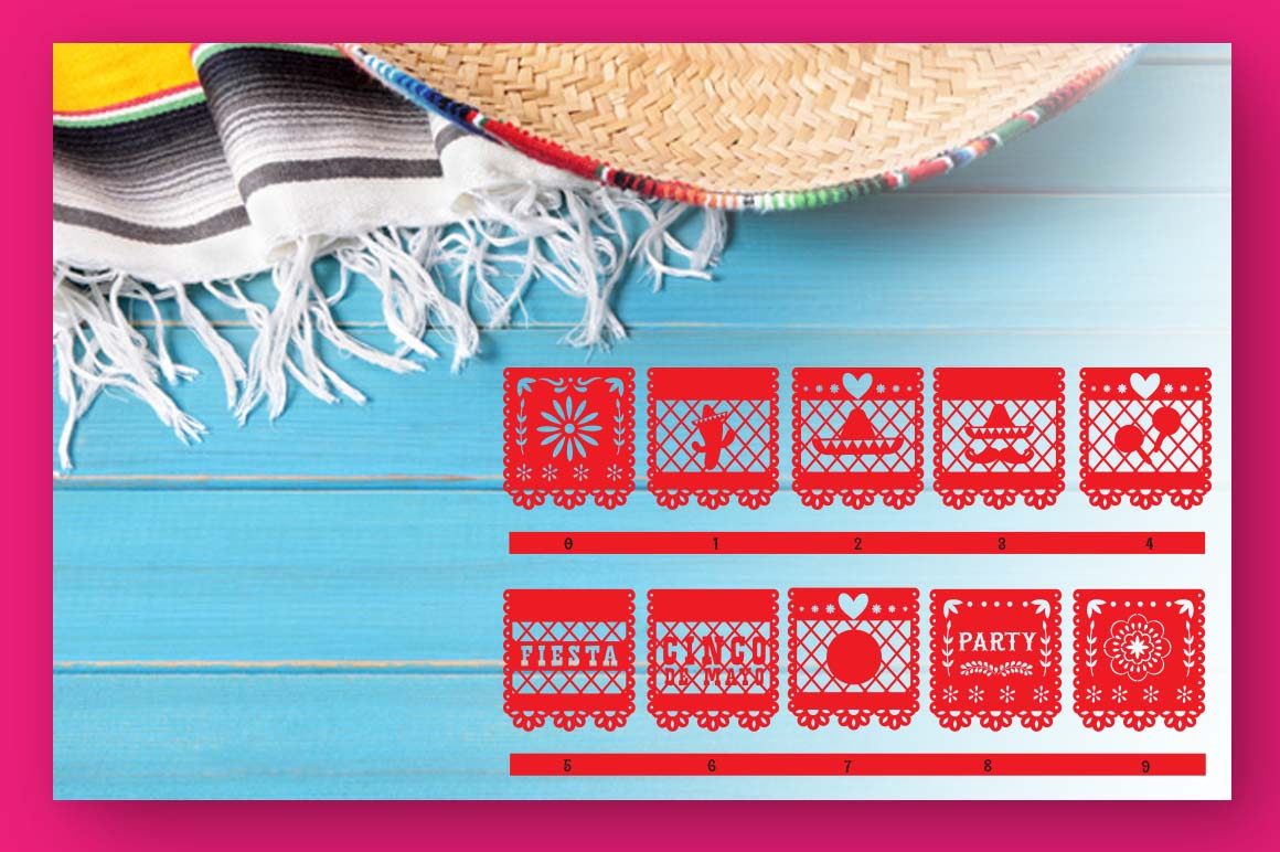 Papercut blocks font a mexican party banner example image 4