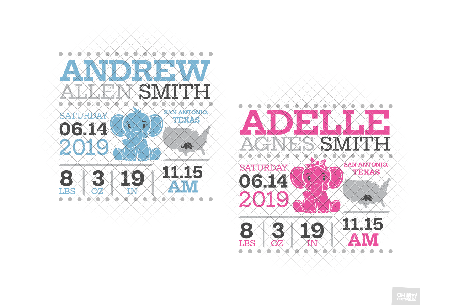 Elephant Birth Announcement SVG Ear Birth Stats Template example image 8