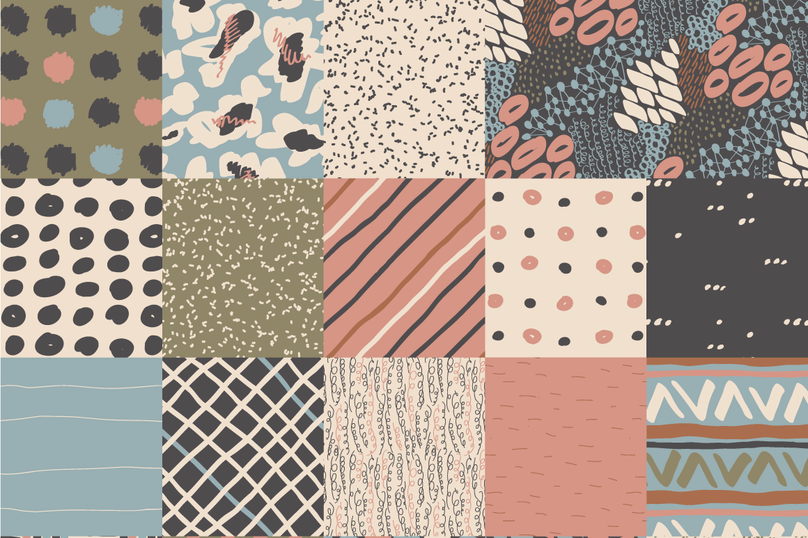 Neutral Hand Drawn Patterns Bundle example image 5
